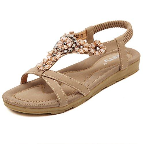 Beaded Strap Flip Flop (Women's Summer Braided Elastic Strap Beach Flower Ethnic Warp Ankle Sandals Dress Flat Beaded Slippers (9, Apricot))