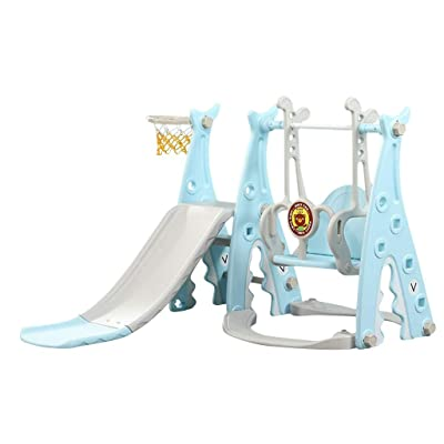 Wotryit Toddler Climber and Swing Set, 3 in 1 Climber Sliding Playset w/Basketball Hoop - Plastic Play Slide Climbing Ride for Outdoor/Indoor/Garden Play Toy Playground,Blue: Toys & Games