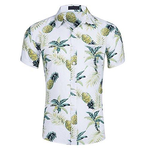 CATERTO Men's Short Sleeve Standard-Fit 100% Cotton Button Down Casual Pineapple Hawaiian Shirt (2XL, White) ()