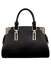 SAIERLONG Women's Cross Body Bag Handbag Tote black Cow Leather - CROCO Crocodile OL commuter Dimensional Solid bag