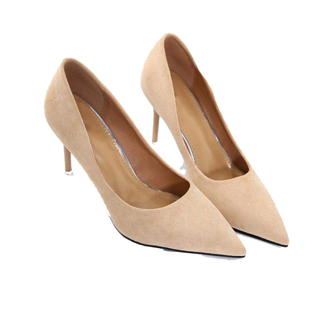 TZQ Frauen Schwarz High Heels Damen Damen Damen Kleid Stiletto Slip On Schuhe Casual Work Office Comfort Schuhe 497925