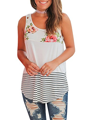 Gemijack Womens Tank Tops Floral Summer Sleeveless Casual Loose Fit Color Block Shirts White