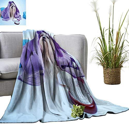 (YOYI Digital Printing Blanket Shih tzu Dog After Washing with Bathrobe,Towels and Comb Soft Blue Background Tint Better Deeper Sleep 60