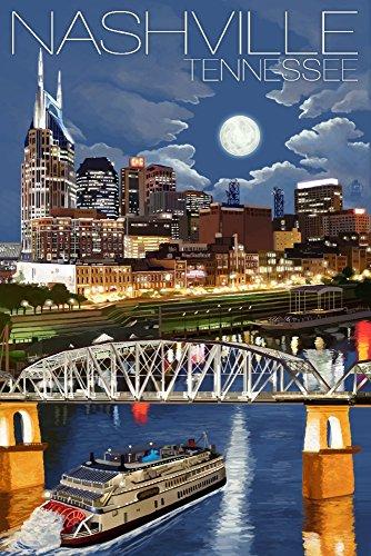 Nashville, Tennesseee - Nashville at Night (12x18 Art Print, Wall Decor Travel Poster)