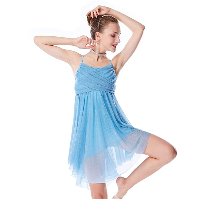 9d24d9866 MiDee Girl Glitter Knee-Length Dress Lyrical Latin Dance Costume (LA, Sky  Blue