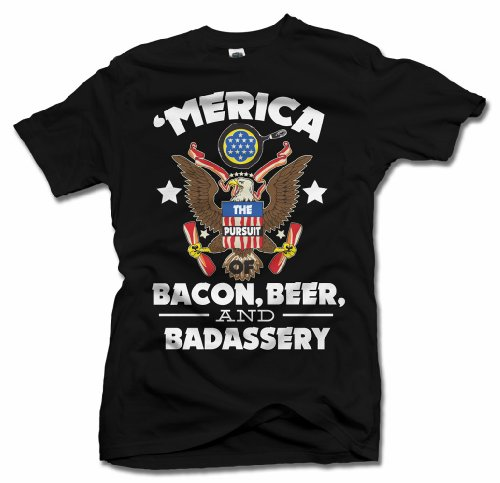 Amazon.com: 'Merica Bacon, Beer, And Badassery Funny America T ...