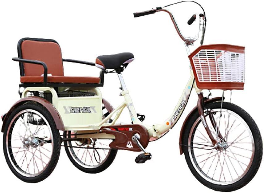 QQJL 16~20 Pulgadas Triciclo Plegable Bicicleta 3 Ruedas Tres Ruedas Bicicletas de montaña para Hombres Mayores Adultos Mujeres con Cesta y Asiento Trasero-Cadena única Asiento de 20 Pulgadas - Beige