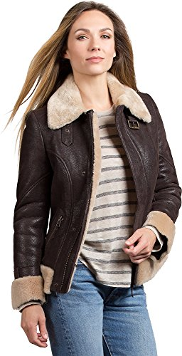 Batavia Shearling Sheepskin Bomber Jacket, Brown/Cream,