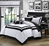 Perfect Home 20 Piece Bernard Pieced Color Blocked Complete Master Bedroom Ensemble Includes Comforter Set, sheet set and window treatments. Queen, White