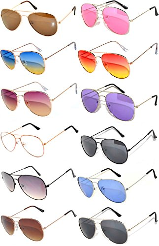 12 Pack Aviator Eyeglasses Metal Gold, Silver, Black Frame Colored Mirror Lens OWL. (Aviator_Mix_Colored_Ls_12pairs, - Of Sunglasses 12 Pack