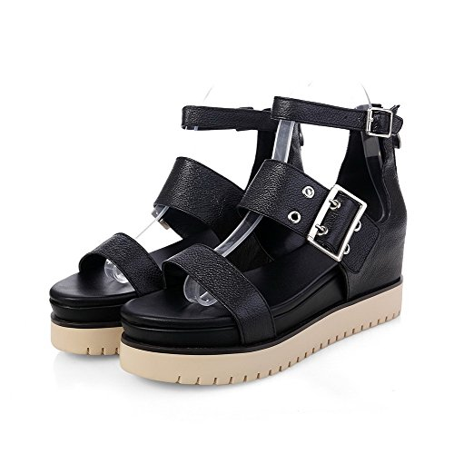 AllhqFashion Womens Open Toe Kitten-Heels Soft Material Solid Buckle Sandals Black dXupVThwwH