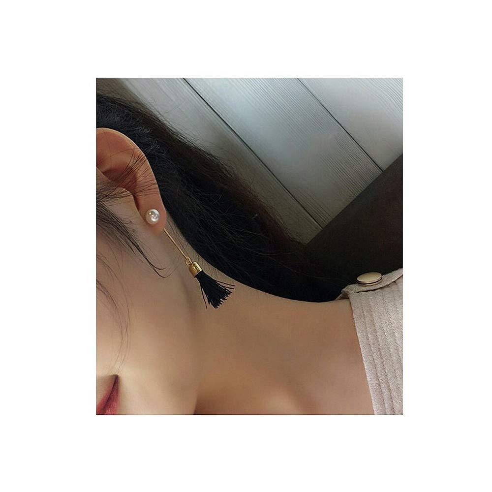 YRY Simple Black Tassel Pearl Earrings Long Section for Women Girl Gift Black and White