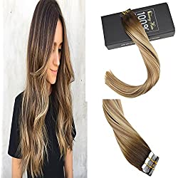 """Sunny 20"""" Full Head Tape Hair Extensions Human Hair Remy Balayage Hair Extensions Color #4 Fading to #8 and #22 Medium Blonde Highlighted Hair Extensions 50g 20 Pcs/Package"""
