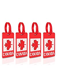 Luggage Tags - 4-Piece Set Canadian Flag Luggage Tag,Suitcase Carry-on Business Card Holder by Sportsvoutdoors