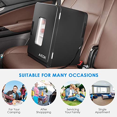 Dual AC 240V Voltage Portable Car Home Mini and Camping for 12V Cool Box AICOK Warm Travel Cool Cool 220 Refrigerator Car Cool 15L DC Black and Electric Refrigerator for Box Box qUPvSTP