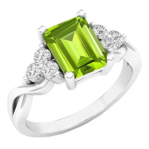 Emerald Cut Peridot Stone - Dazzlingrock Collection 14K 8X6 MM Emerald Cut Peridot & Round White Sapphire Engagement Ring, White Gold, Size 8