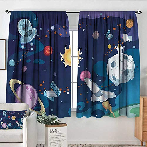 """Anzhutwelve Outer Space,Nursery/Baby Care Curtains Galaxy Space Mission 52""""x72"""" Indo Treatment Panes"""