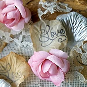 Lace, Rose Petals and Flower Confetti Toss for Wedding or Bridal Shower Table Runner Centerpiece 2