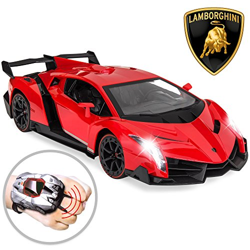 Best Choice Products 1/14 Scale RC Lamborghini Veneno Race Car w/Wearable Controller and Gravity Control - Red - Lamborghini Reventon Model Car