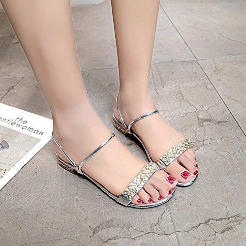 YMFIE de Sandalias Plano Verano Maneras Toe silvery Simple de Fondo vestirse de Zapatillas Dos Toe Damas Moda de Playa 4xqHR4r