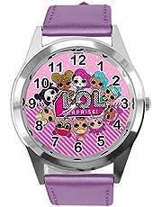 Horloge Analoog Kwarts met Echt Lederen Band Violet Ronde voor Poppen Fans