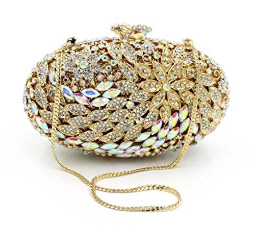 Gold Ovale Haute Luxe À Nbwe De Sac Tenant Sacs Embrayages Soirée Diamant Qualité Brillante Nouveau Main gZgqR