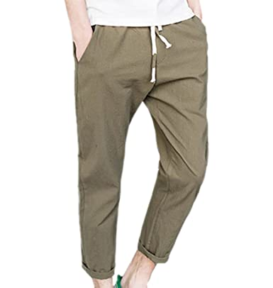 c69f0e75d2 Huateng Mens Loose Fit Casual Trousers,Cotton Pants Elastic Waist Design  Cropped Trousers: Amazon.co.uk: Clothing
