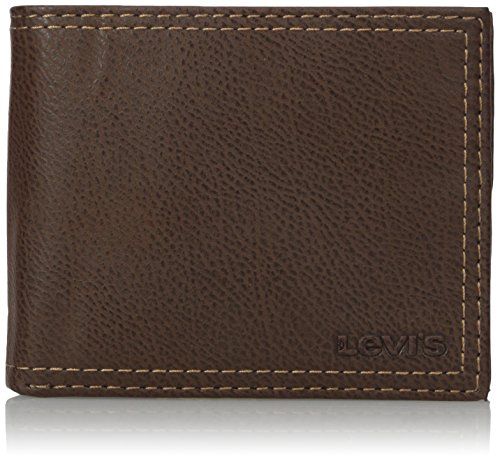 Levis Mens Extra Capacity Leather Slim-fold Wallet, Brown, One Size