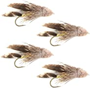 The Fly Fishing Place Muddler Minnow Fly Fishing Flies - Classic Bass and Trout Streamers - Set of 4 Flies Hoo
