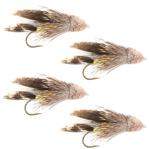 (The Fly Fishing Place Muddler Minnow Fly Fishing Flies - Classic Bass and Trout Streamers - Set of 4 Flies Hook Size 4)