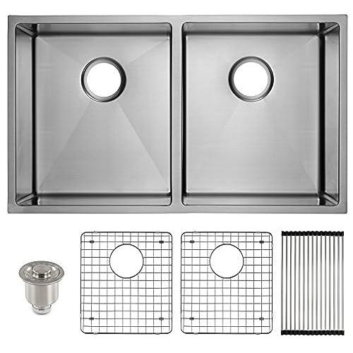 frigidaire undermount stainless steel kitchen sink 10mm radius corners 16 gauge deep basin 32 double - Kitchen Sink With Drainboard