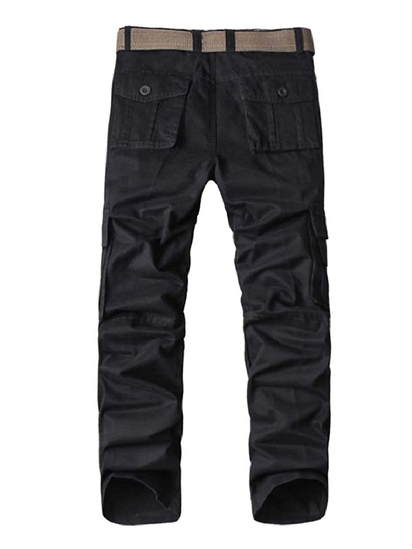 YUNY Mens Straight Pockets Cotton Casual Relaxed-Fit Combat Work Pants Black 31