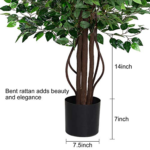 Woooow 6Ft Artificial Ficus Tree Silk Tree Fake Plant in Pot Decorative Trees for Home Kitchen Office Living Room Decor 5