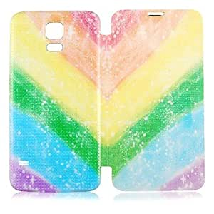 LZXRainbow Pattern PU Leather Full Body Case for Samsung Galaxy S5 I9600