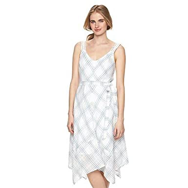dfb6678c3e2 Lauren Conrad LC Women Plaid Handkerchief Midi Dress White Blue Large at  Amazon Women s Clothing store