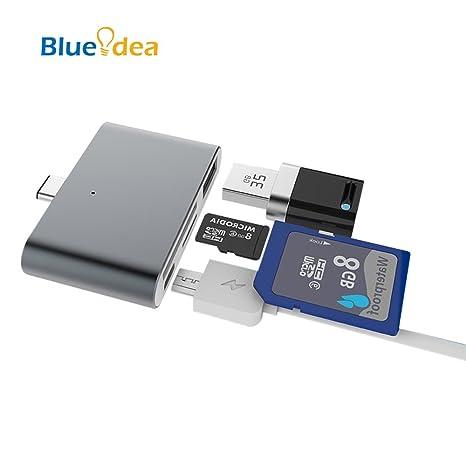 Blueidea® Tipo C Lector de Tarjeta de Memoria Adaptador OTG Múltiples Funciones Ultra-Delgado