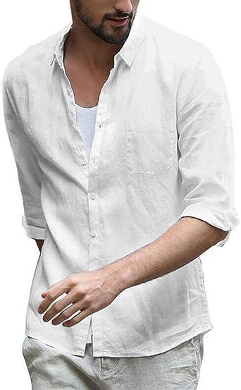 Onsoyours - Camisa de lino para hombre, manga larga, para otoño y ocio, casual: Amazon.es: Ropa y accesorios