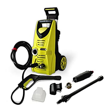 SereneLife SLPRWAS34.1 Power Pressure Washer-Electric Heavy Duty 1520PS Manual Adjustable High Low Cold Water Sprayer System and Rolling Wheels, Yellow