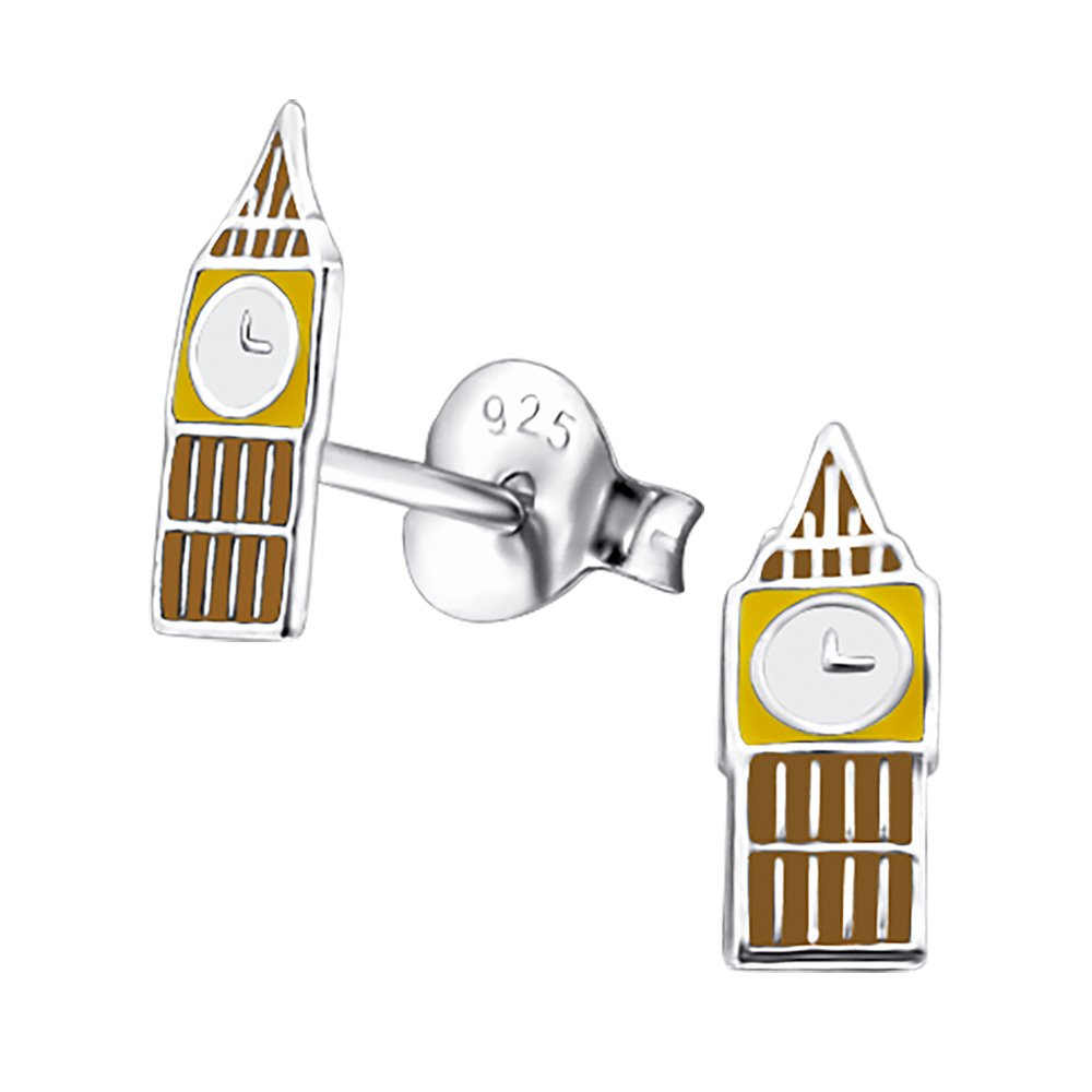 Laimons Kids Childrens' Earrings Childrens' Jewellery Big Ben church tower yellow, brown 925 Sterling silver OS989