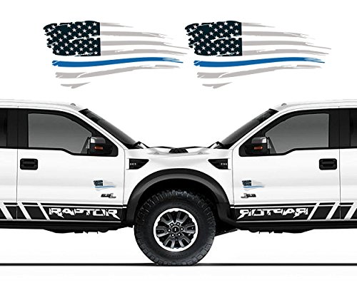 (Ohana Graphix [MADE IN USA] Official Thin Blue Line Decal Tattered Flag 3M/Orafol Sticker Supporting Our LEO Heroes 3