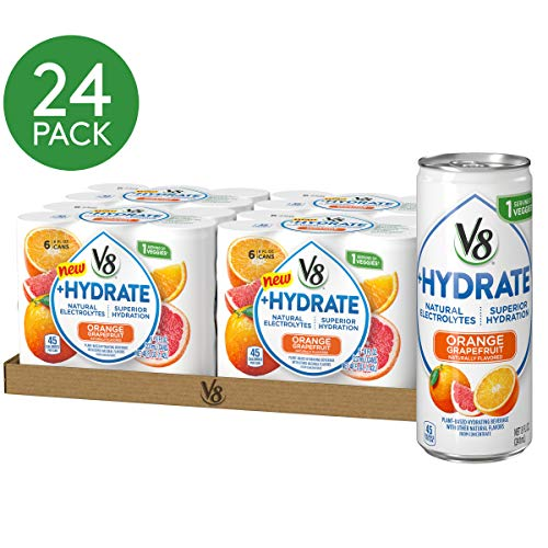 V8 +Hydrate, Healthy Isotonic Drink, Plant-Based Hydration with Natural Electrolytes, Flavored Water with Stevia Leaf Extract, Orange Grapefruit, 8 Ounce Can (Case of 24)