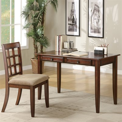 2PC-Traditional-Writing-Desk-With-Storage-Drawers-And-One-Side-Chair-In-Cherry-Wood-Finish-Item-Vista-Furniture-CF800778