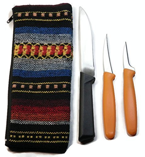 Set of 3 Pcs Thai Fruit and Vegetable Carving Knife Free Handmade Cotton Bag (By Random) by Jaguar