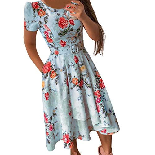 Yucode Women Vintage Floral Printed Puffy Swing Short Sleeve Party Dress Slim Summer Dress Blue]()