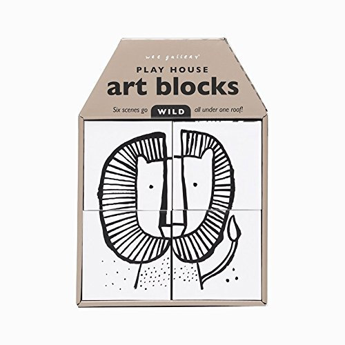 Wee Gallery Play House High Contrast Art Blocks, Baby's First Stacking Blocks and Block Puzzle, Wild - 4 piece (Art Wee Gallery)
