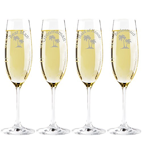 Best Man Maid Of Honor - Palm Tree Groomsman - Best Man - Maid of Honor - Bridesmaid Champagne Toasting Flute Glasses, Set of 4