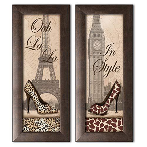 wallsthatspeak 2 Travel in Style Animal Print Fashion High Heel Pumps Paris London, Two 6x18 Brown Framed Prints. Beige