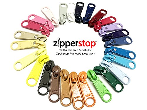 Head Zipper Pull - ZipperStop Wholesale - Zipper Repair Kit Solution YKK Long Pull Zipper Heads- 4.5mm loose sliders/pulls -Choice of brights, neutrals, or mix (20pc Brights-Neutrals)