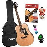 CASCHA Acoustic guitar beginner set, incl. textbook, tuner, gigbag/bag, 3 picks, dreadnought, western guitar, steel strings