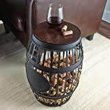 Wine Enthusiast Barrel Cork Catcher Accent Table